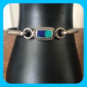 VINTAGE 925 Silver Latch Hook Turquoise Bracelet